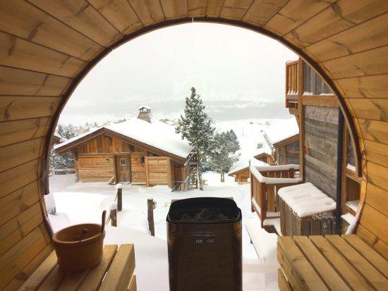 Chalet Aguila: sauna_panoramique_chalet_pyrenees_aguila_souslaneige