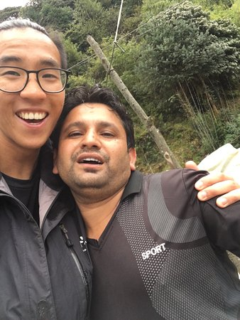 Bagmati Zone, Nepal: My boyfriend with our guide on the mountain