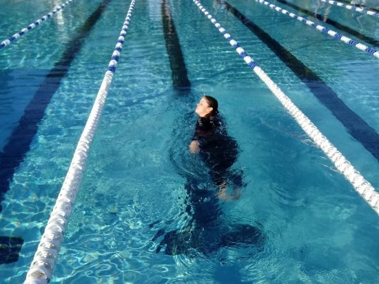 Coral Springs, FL: Swim test in 63 degree water!  Dedicated!