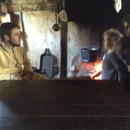 Plimoth Plantation: The girl is asking the Pilgrim about his running the house