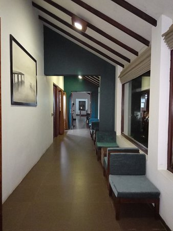 Seating in the corridor with Beer cafe