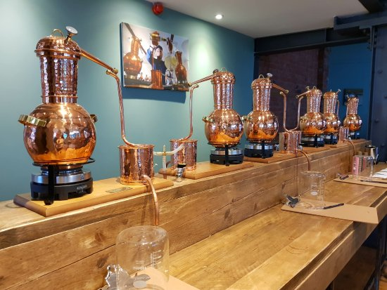 Loughborough, UK: Copper stills ready to produce the gin