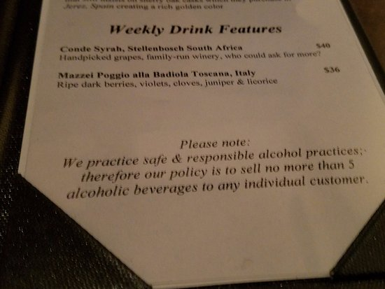 Falmouth, ME: Foreside Tavern Drink Policy