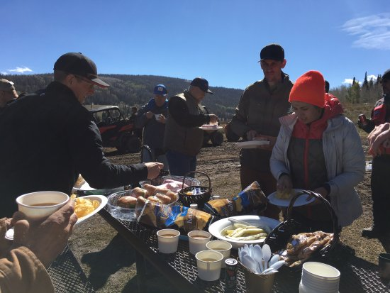 Kamas, UT: Catered lunch in the forest. Hot soup, sandwiches, pickles, chips, cookies & coffee