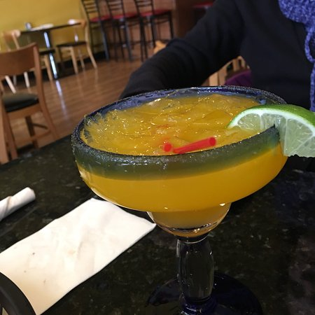 Fishkill, NY: Mango margarita, meat filled chili poblano,  rice and beans, chicken enchiladas in molé sauce