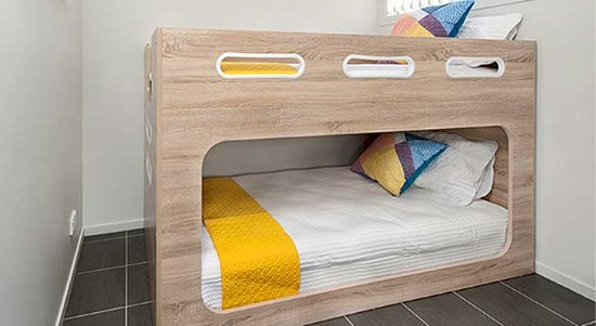 Modern bunk beds in the Riverfront cabins - Picture of ...