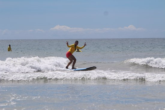 Frijoles Locos Surf Shop & Spa: Moms, Dads and kids all have fun and learn how to surf at Playa Grande, Tamarindo Surf lessons