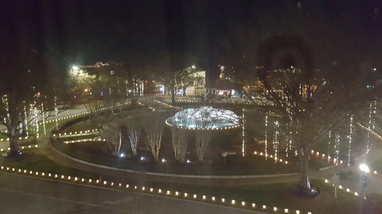 LaGrange, GA: Here is the town's iconic fountain with Christmas lights