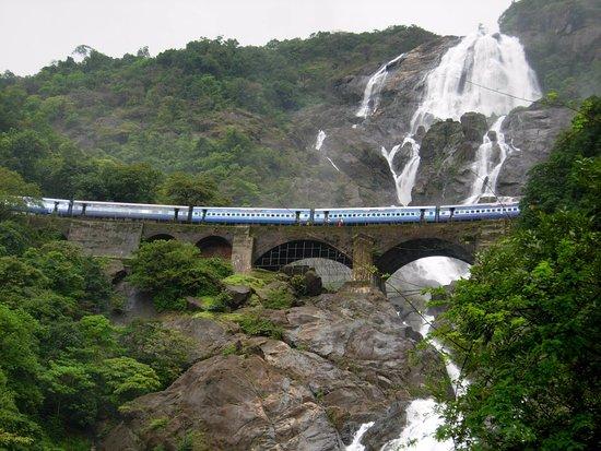 Anjuna, India: Train passing by Dudhsagar Waterfall