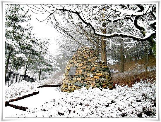 Cheongju, Corea del Sur: 겨울 청남대 돌탑