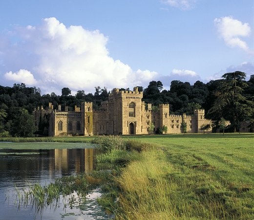 Hope Under Dinmore, UK : Castle from across the lake