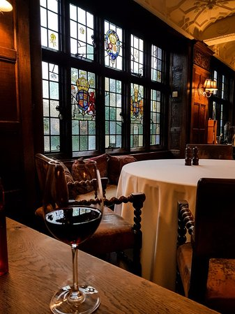Chiddingfold, UK: Stained glass in the dining room