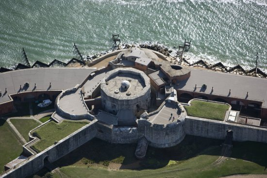 Milford on Sea, UK: Aerial View of the Tudor Castle