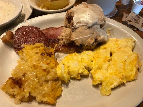 Elkton, MD: Cracker Barrel Holiday Sampler: Eggs, hash brown casserole, ham, bacon, sausage, cinnamon biscui