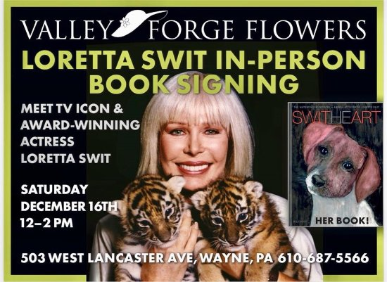 Wayne, PA: Stop by to see Loretta Swit of M*A*S*H signing her new book at The Barn at Valley Forge Flowers.