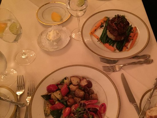 Whispers Restaurant: Seafood dish and filet mignon
