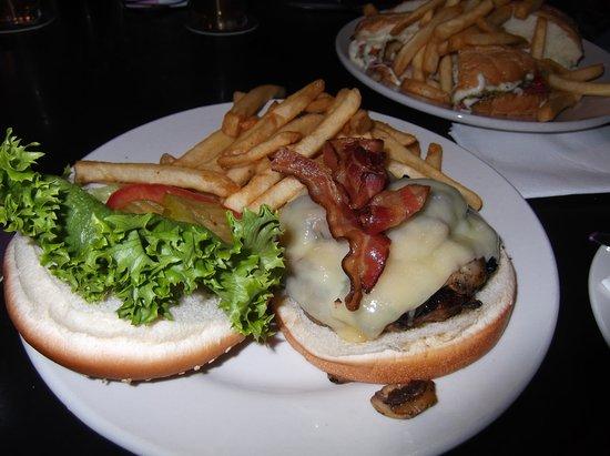 Abita Springs, LA: Mushroom Swiss Burger with Bacon