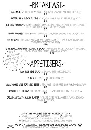 Collingwood, New Zealand: MAD Menu - Breakfast and Appetisers.