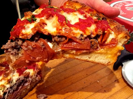 Mickey's Pizza: Deep dish with all the meat ingredients you would want
