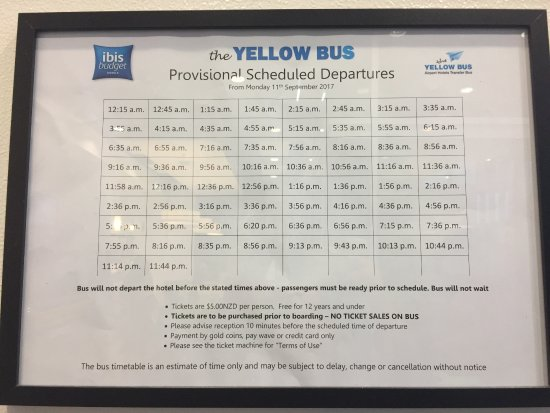 Ibis budget Auckland Airport: Yellow bus schedule at the hotel