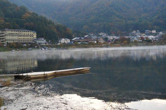 Lake Kawaguchi Ohashi Bridge: View of the hotel area from the bridge