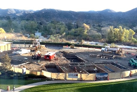 Pala Casino Resort and Spa: Major pool area construction. Spa is to the left.