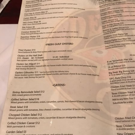 Menu and oysters billede af dead fish grill belton for Fish and grill menu