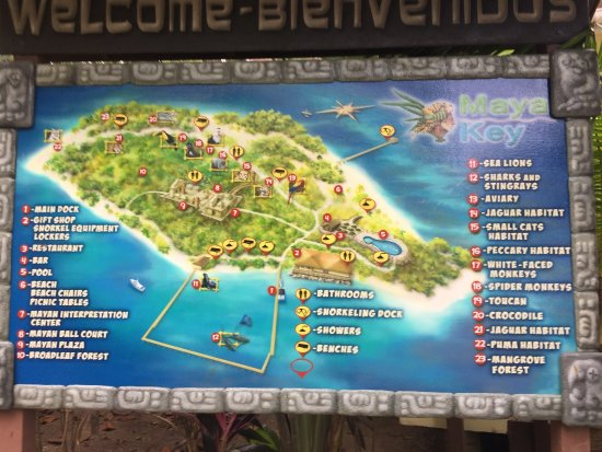 Maya Key : A map of the island was posted at the entrance.