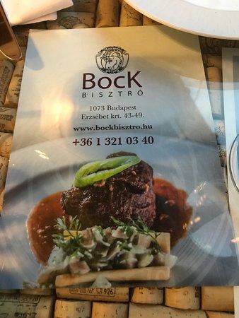 Bock Bisztró: Carte du restaurant