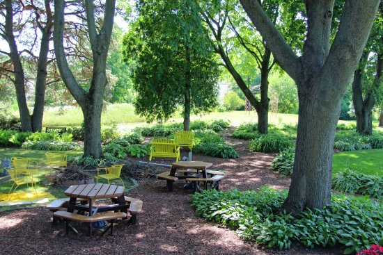 Fennville, MI: Back yare picnic area with fire pit and grill