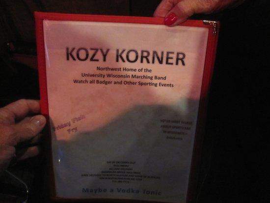 Kozy Korner Bar and Pizza: Menu