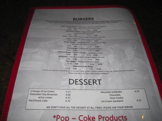 Kozy Korner Bar and Pizza: Menu