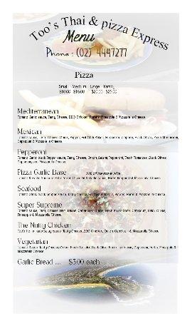 Culburra Beach, Australia: Dec 17 Menu More Pizzas