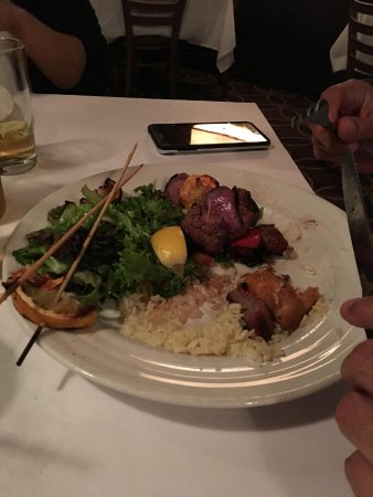 Seekonk, MA: Kabob Trio with sides of greens and jasmine rice at Chardonnays
