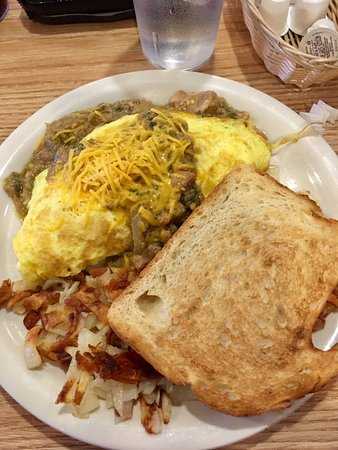Coffee Cup: Chile Verde Omelette, Hash browns and sourdough toast