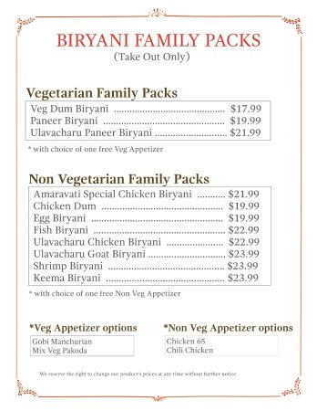 Pleasanton, CA: Biryani Family Packs comes with more quantity and a Free Appetizer