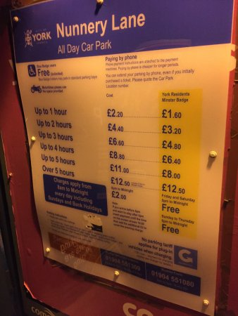 Premier Inn York City (Blossom St North) Hotel : Nunnery Lane car park tariff