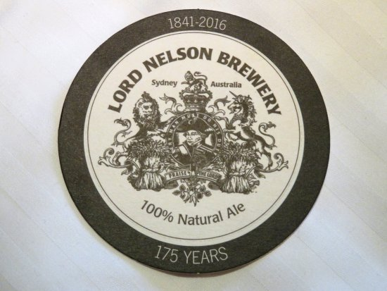 Sydney Issued BEER Coaster 1 onlY LORD NELSON Micro Brewey