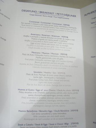 Grand Sirenis Riviera Maya Room Service Menu