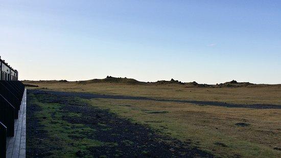 Киркьюбайярклёйстюр, Исландия: petites terrasses individuelles donnant sur... rien !!!