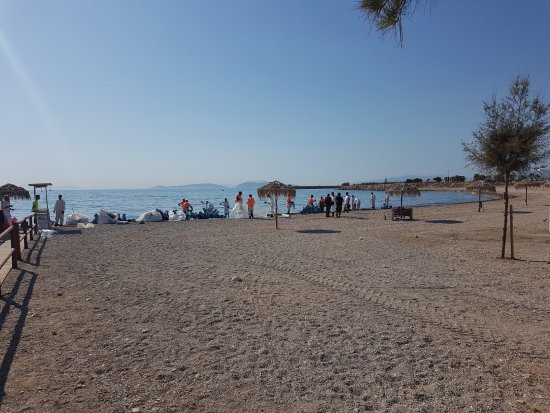 Glyfada, Hellas: cleaning the oil spillage