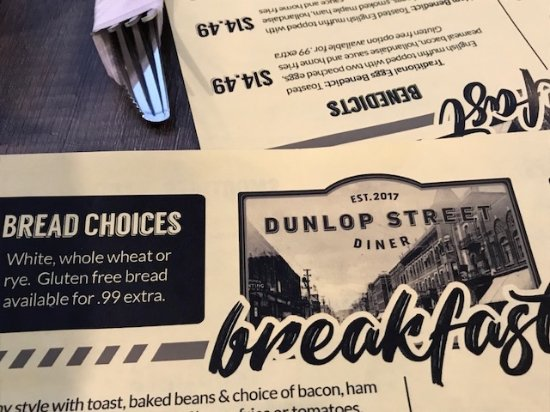 Dunlop Street Diner: Extra charge for GF