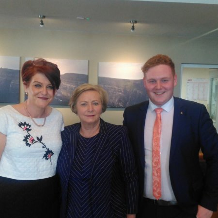Ennis, Ireland: Elaine and Oisin Lally welcome Minister Frances Fitzgerald