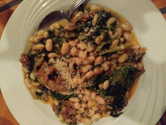 Washington, PA: Greens and beans with sausage. Great flavor
