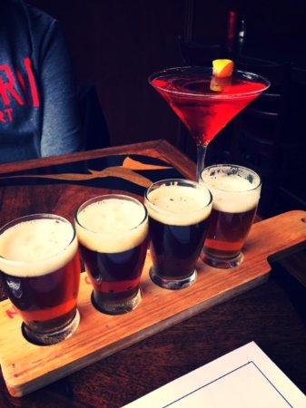 Ebensburg, PA: Flight of beers and peach cosmopolitan