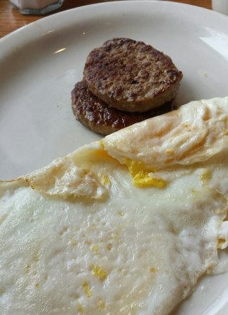 Turkey sausage & eggs over hard, good!