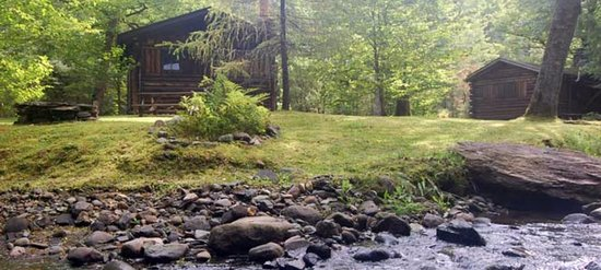 Lisbon, NH: Salmon Hole Brookside behind Cabin  1