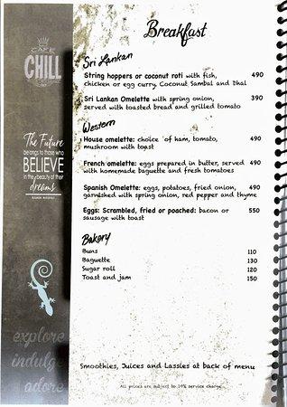 Cafe Chill: menu