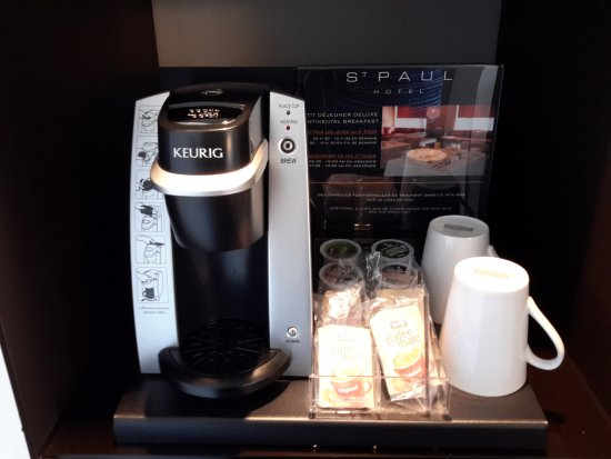 Hotel St Paul: Coffee bar in the hotel room At Hotel St. Paul, Montreal @DownshiftingPRO