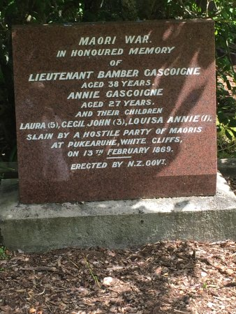 New Plymouth, New Zealand: Note the Land Wars were previously called the Maori Wars by Pakeha.